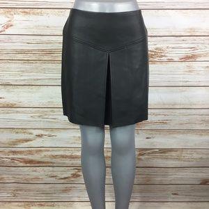Club Monaco Faux Leather Split A Line Skirt